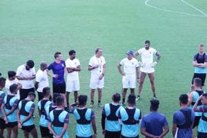 FC Pune City has begun the pre-season training for the Indian Super League, season 5, which begins for the club from October 10. New coach Miguel Angel Portugal (foreground, right) ris at the helm for this season, hoping to win the first ISL title for the Maratha stallions.