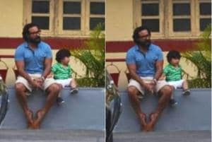 Saif Ali Khan enjoyed a quiet evening with his son Taimur.