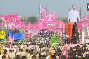 A previous TRS rally on September 2, 2018. A man allegedly attempted self-immolation and tried to set afire a Telangana Rashtra Samithi (TRS) MP at a rally on Wednesday