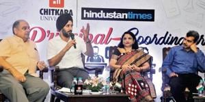 (From left) Independent School Association president HS Mamik, UT director of school education Rubinderjit Singh Brar, Chitkara Education Trust co-founder Madhu Chitkara, and Bulls Eye founder Hirdesh Madan during the Principal-Coordinator Meet organised by Hindustan Times at Hotel Mountview, Sector 10, Chandigarh, on Tuesday.