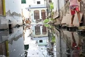 The residents are worried that sewage water has collected across the colony posing health hazards, especially during the monsoon.