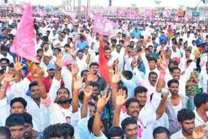 TRSsupporters attend a rally of Telangana chief minister K Chandrasekhar Rao on September 2, 2018.