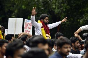 ABVP's presidential candidate Ankiv Baisoya campaigns for DUSU elections.