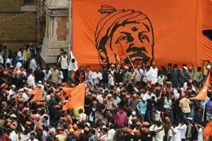 Members of the Maratha community in Maharashtra take part in a rally in Mumbai on August 9.