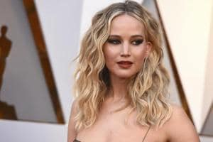Jennifer Lawrence arrives at the Oscars at the Dolby Theatre in Los Angeles.