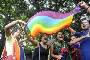 Members of the LGBT community celebrate after the verdict by Supreme Court of India which stuck down part of Section 377.