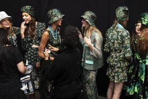 Models in bucket hat at the Anna Sui presentation during New York Fashion Week.