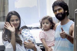 Bollywood actor Shahid Kapoor and his wife Mira Rajput with their newborn son Zain and daughter Misha Kapoor.