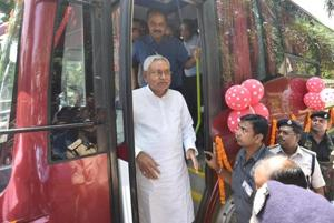 Chief minister Nitish Kumar flagged off the Bihar-Nepal  bus service, in Patna on Tuesday.
