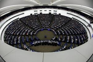Members of the European Parliament take part in a vote on modifications to EU copyright reforms during a voting session at the European Parliament in Strasbourg, France on September 12.