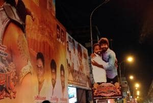 A cut out of Sivakarthikeyan and director Ponram at Kasi theatre, Chennai.