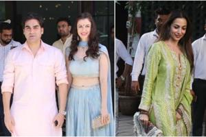 Arbaaz Khan arrived hand-in-hand with his new girlfriend Giorgia Andriani for sister Arpita Khan's Ganesh Chaturthi celebrations. His ex wife Malaika Arora also joined the functions.