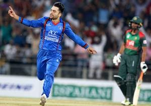 File image of Rashid Khan in action against Bangladesh.
