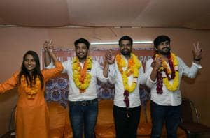 Akhil Bhartiya Vidyarthi Parishad (ABVP) candidates for Delhi University Students Union (DUSU) election (from right) Ankiv Baisoya for President, Shakti Singh for Vice President, Sudhir Dedha for Secretary and Jyoti Chaudhary for Joint Secretary during their introduction at a press conference at ABVP office, in New Delhi, on September 5, 2018.