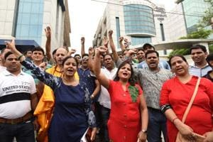 Home buyers protest against Amrapali Builders, in Noida.