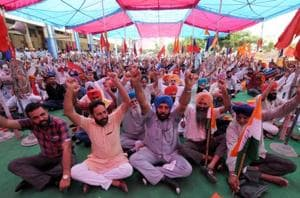Members of Punjab Roadway Employees' Joint Action Committee during the protest at Jalandhar on Thursday.