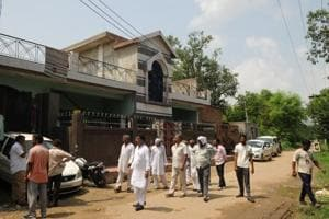 A view of the house in which three members of a family were found dead, in Brijpura village of Pataudi, on August 29.