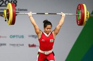 Sanjita Chanu Khumukcham of India makes her final attempt during the Women