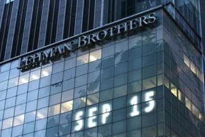 Lehman Brothers world headquarters is shown Monday, Sept. 15, 2008 in New York.