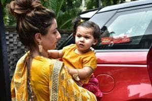 Soha Ali Khan with her daughter Inaaya at Arpita Khan Sharma's Ganesh Chaturthi celebrations.