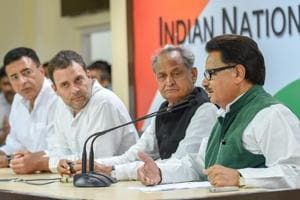 Senior Congress leader PL Punia speaks as party president Rahul Gandhi and senior leaders Ashok Gehlot, Randeep Surjewala look on, during a press conference in New Delhi on September 13.