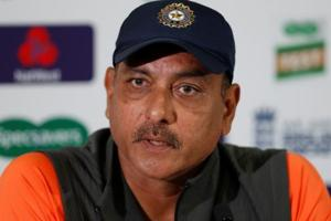 Ravi Shastri reacts during a press conference in England.