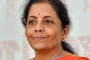 Defence minister Nirmala Sitharaman during an interaction with journalists at PTI office, in New Delhi.