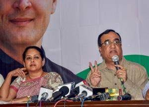 Congress leader Ajay Maken addresses a press conference in New Delhi.