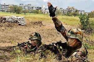 Members of Bhutan army during the BIMSTEC military exercise in Pune, September 14, 2018