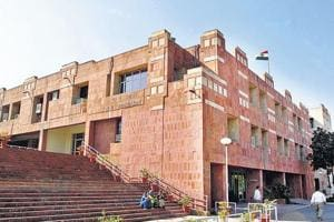 The JNU administrative building, in New Delhi.