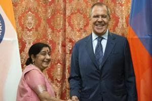 Indian foreign minister Sushma Swaraj  and Russian foreign minister Sergey Lavrov pose for a photo prior to their talks in Moscow September 13.