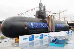 The 3,000-tonne diesel-electric submarine, Dosan Ahn Chang-ho, is seen during a launching ceremony at a shipyard on the southern island of Geoje on September 14.