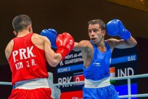 Amit Panghal (in blue), who won the men's 49kg gold medal at the recently concluded Asian Games in Indonesia, is one of the many boxers to have emerged from Haryana.