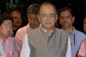 Finance minister Arun Jaitley speaks to reporters in New Delhi.