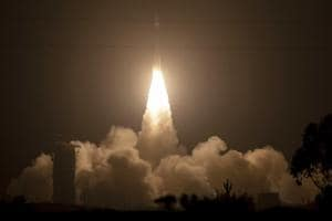The Delta 2 rocket carrying ICESat-2 lifting off from Vandenberg Air Force Base, California.
