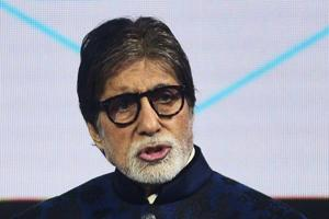 Indian Bollywood actor and host of television game show Kaun Banega Crorepati (KBC) Amitabh Bachchan gestures as he speaks during a press conference.