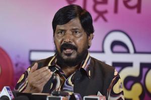 Union minister Ramdas Athawale during a press conference in Bandra, Mumbai.