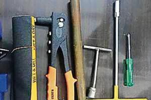 Police recovered tools that the two men used to change the chassis number of the cars.