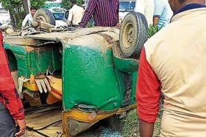 The autorickshaw that turned turtle on the stretch on Saturday.