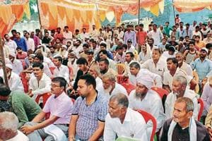 Farmers gathered to hand over their consent for the Jewar Airport at the Yamuna Expressway Industrial Development Authority office in Greater Noida on Saturday.