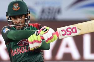 Mushfiqur Rahim plays a shot during the one day international (ODI) Asia Cup 2018 match between Bangladesh and Sri Lanka .