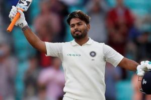 Rishabh Pant celebrates his century during the fifth Test match between India and England.