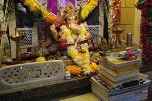 Ganpati at the home of the Ghag family in Kalwa.