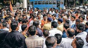 Sound system owners protested against the ban on the use of sound systems during the ongoing Ganeshotsav at Jhansi Rani Laxmibai chowk in Shivajinagar on Sunday.