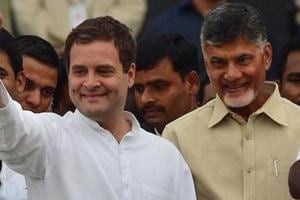 Congress president Rahul gandhi and TDP chief Chandrababu Naidu during an event in Bengaluru.