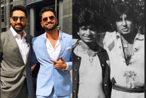 Like fathers like sons: Abhishek Bachchan and Vicky Kaushal pose like their dads, Amitabh Bachchan and Sham Kaushal.