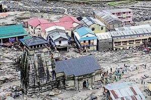 A view of the devastated Kedarpuri township in the vicinity of Kedarnath shrine after 2013 disaster.