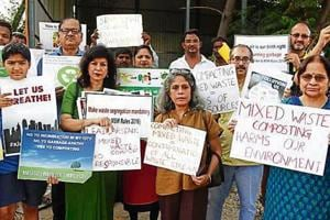 Residents, on Sunday, protested outside an Ecogreen transfer station opposite Paras Hospital to protest the concessionnaire's practice of compacting mixed waste.