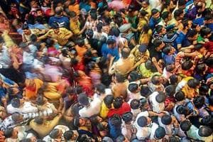 Devotees visit the Lalbaugcha Raja on Sunday.