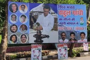Congress posters depicting party president Rahul Gandhi as a Shiv devotee. Gandhi had recently undertaken the Kailash Mansarovar pilgrimage.